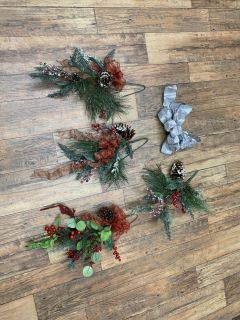 4- Christmas Floral decor. I used them hanging on stairwell before. They are approximately 15 each. Brazoria home pickup.