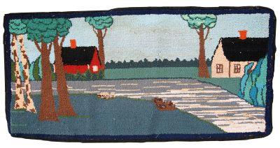 Handmade vintage American hooked rug, 1C412