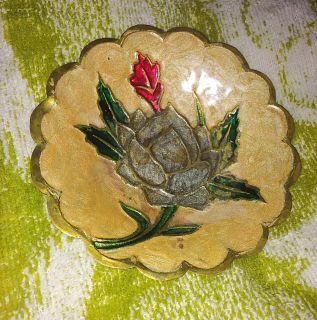 Circle Decorative Golden Antique, Beautifully Painted Flower w/ Silky Texture, MORE INFO