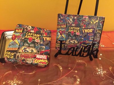 Brand new Marvel Comics Super Heroes leather wallet in tin case