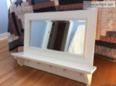 Framed Mirror with Shelf and Hooks