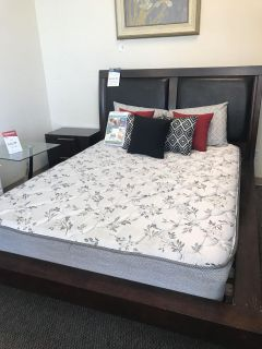 Queen bed frame with Mattress and nightstand