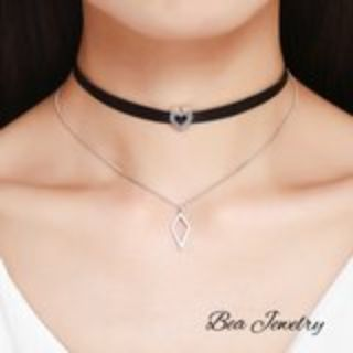 rhombus & Heart chocker Necklace