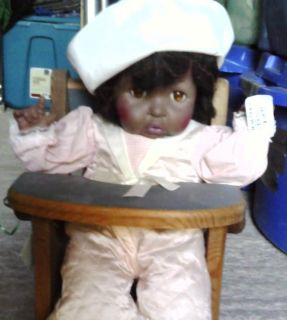 African American Doll in Original Outfit & Wooden HIgh Chair.