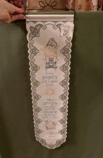 NWT. Adorable fabric wall hanger from Heritage Lace. Precious Quote 34 x 8.5 Comes w/ decorative hanger.