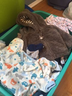 Bin of Boys Newborn - 3 mo Winter Clothing