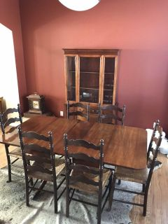 Antique table & chairs w/ matching china hutch