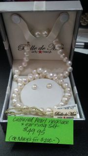 cultured pearl necklace and earrings set