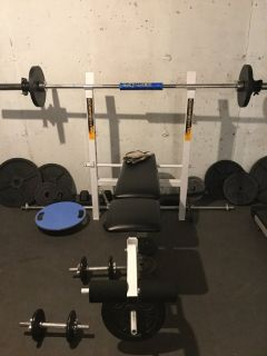 Weight bench with assorted weights