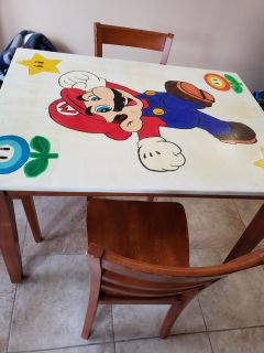 Super Mario Table with 4 chairs. Fair Condition
