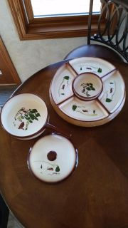 Brock of California antique relish set and dish