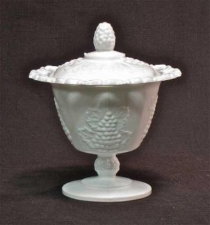 Vintage Indiana Milk Glass Harvest Grape Open Lace Edge Covered Candy Dish