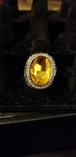 10 CARAT CITRINE AND SILVER RING size 7