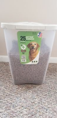 25 lb. Dog food storage bin with dogfood included