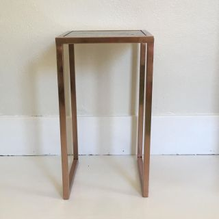 Rose gold and green plant stand or side table
