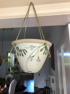Gorgeous vintage hand painted pottery hanger
