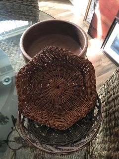 Baskets and Wooden Bowl