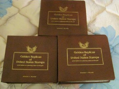 $450 3 Gold Replicas of US Stamp Albums 115, 22k [phone removed]