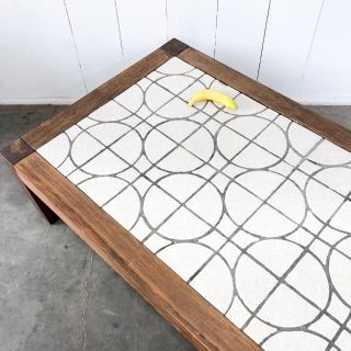 Large MCM tile top Parsons coffee table