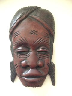 Hand carved wooden decorative mask from Africa