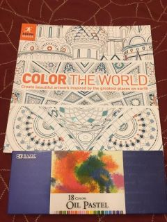 New color the world book with new set of oil pastels