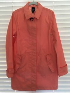 Gap brand trench coat, excellent condition, peach/coral color, size Medium