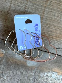 Claire s Sensitive Solutions heart loop earrings new never worn rose gold,gold, & silver. Originally $10