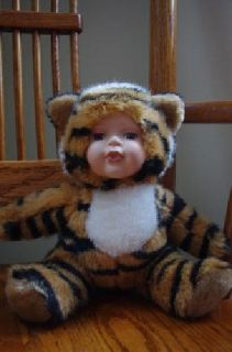 $20 Porcelain face stuffed tiger doll