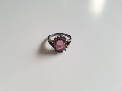 Pink Sapphire Dark Sterling Silver Halo Ring - Size 8