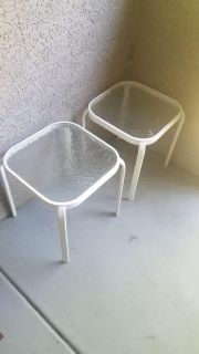 Pair of glass patio tables