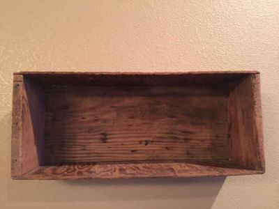 Very cool antique wooden box-I hung it on wall and used as a shelf-19-1/2 x 9 x 6