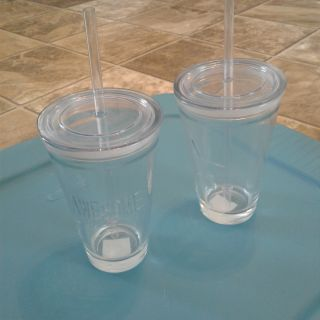 NWT (2) SPILLPROOF GLASSES w/straws