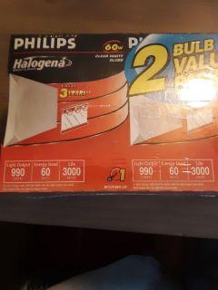 25 - 2pk. Philip's Halogena 60 Watt Vanity Globe Light Bulbs