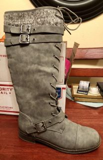 Grey Size 7.5 Lace Up Boots