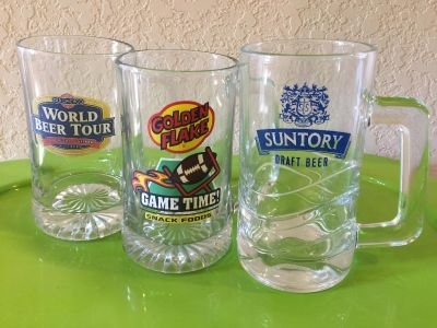 Set of 3 - Excellent Condition Advertising Beer Mugs