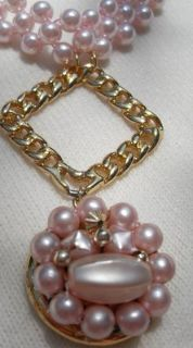 Unusual Necklace Pink Faux Pearls Vintage Pendant