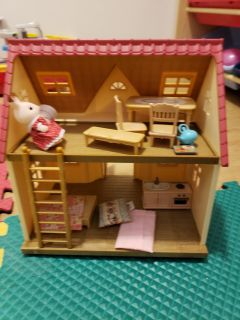 Calico critters house and acessories....bed needs reglued
