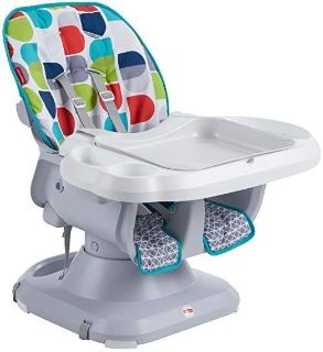 NEW-Fisher-Price SpaceSaver High Chair and Booster Seat 2 in 1, Multicolor
