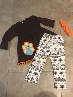 Thanksgiving outfit 3T - boutique shirt, pants, and headband NEW! - toddler girl - Turkey