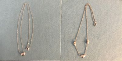 2 authentic Tiffany & Co Elsa Peretti Bean necklaces and one Tiffany s dust pouch