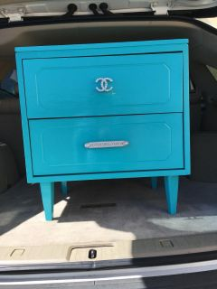 """CC"""" Tiffany Blue Nightstand 2 - Drawers w/ Silver and Crystal Pull"""