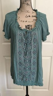 ST. JOHN S BAY Women s Short Sleeve Embroidered Blouse Size XL