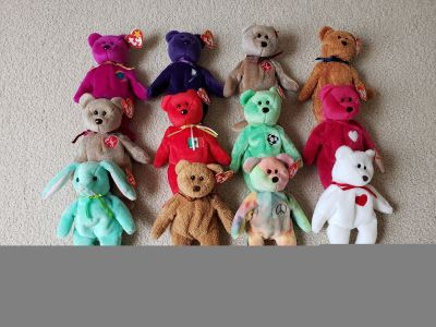 Beanie baby bears and rabbit