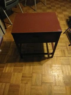 Brownish red metal end table