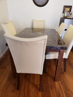 Marble or Granite Kitchen Table with 6 Chairs