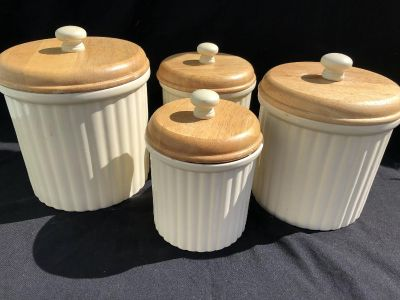 Cream colored canister set