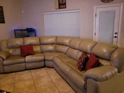 3 Piece Leather Sofa Sleeper Sectional with 2 Recliners