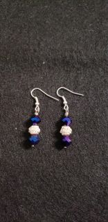 New! Pretty Blue and Silver Earrings