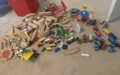 Wooden Train Set w/trains & Lots of Accessories
