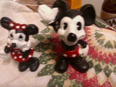 Mickey and Minnie cast iron bank